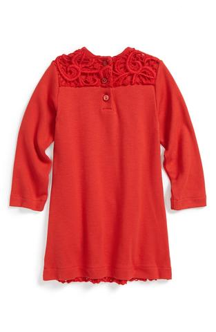 Red lace knitted dress for girls